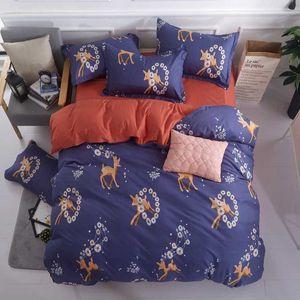 2020 Cotton bedding set queen size bed sheets duvet covers-Modern style Christmas deer chinese bedding sets-edredon jogo de cama