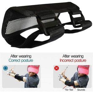 Golf Elbow Brace Arc Corrector Swing Training Straight Practice Aids Arm Bending Alarm Trainer