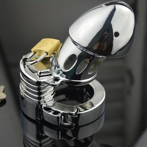 Male Chastity Device Metal Cage with Adjustable Cock Ring Penis Lock Sex Toys Men Restraint