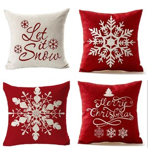 Fashion Snowflake Cushion Covers Linen Pillow Case New Year Home Sofa Throw Christmas Decoration Pillows Cover Party 45*45cm