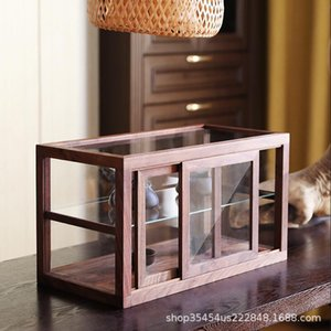 Home Storage Boxes Bins Black walnut glass dustproof cover transparent small manual blind household display cabinet