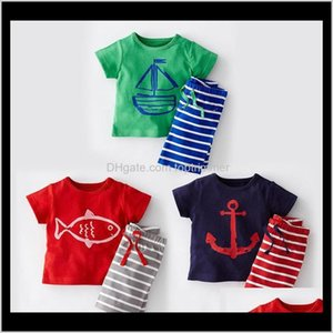 Baby Baby, Kids Maternity Drop Consegna 2021 Bambini Abbigliamento Set di Abbigliamento Estate Automatico Automatico Automatico Manica Corta Stampa cartoon Camicia a strisce Pantaloncini a strisce BO