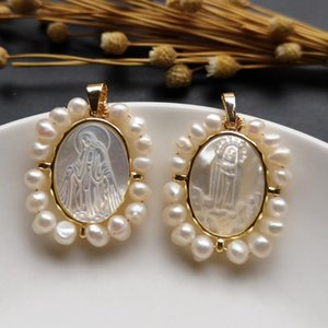 5pcs lot 25x29mm Natural Virgin Mary & Lady Of Fatima Mother Pearl Shell Pendant Freshwater Charms For Necklace Necklaces