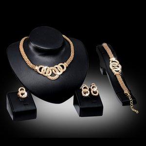 Jóias fina de ouro conjunto para mulheres grânulos colar colar brincos pulseira anéis de bracelete conjuntos traje Últimos acessórios de moda 147 W2