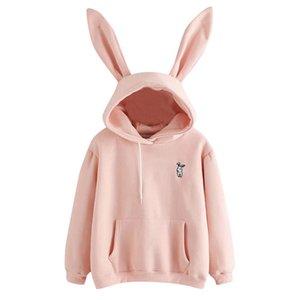 Sudaderas con capucha QRWR otoño invierno kawaii conejo orejas moda casual color sólido caliente para las mujeres