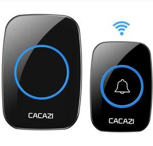 CACAZI Waterproof Wireless Doorbell 100-240V 60 Rings 5 Volume Chime 300M Remote Led Light Home Eu Us Plug Black Door Bell