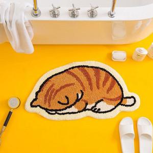Carpets Cute Cat Carpet For Living Room Cartoon Bedside Rugs Anti Slip Entrance Doormat Water Absorbent Bath Rug Soft Furry
