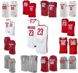 NCAA College Ohio State Buckeyes كرة السلة Jersey 3 CJ Jackson DJ Carton 32 EJ Liddell 33 Keita Bates-Diop مخصص