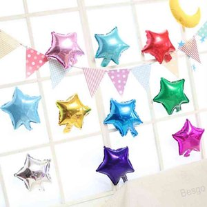 10 inch Aluminum Balloon Five-pointed Star Small Aluminum Foil Balloon Wholesale Birthday Balloons Wedding Party Decoration BH4448 WXM