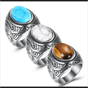Solitaire Retro Sier Stainless For Man Turquoise Titanium Steel Men'S Ring European And American Jewelry L3Yxa H0638