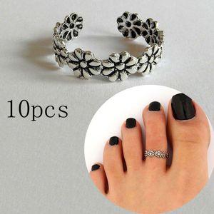 10pcs Summer Retro Daisy Flower Rings Good Luck Feet Ring Beach Foot Ring Toe Unique Feet Rings For Women