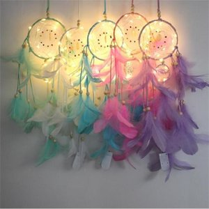 LED Dream Catcher Feather Wall Hanging Decoration Light Handmade Wind Chimes Dream Catcher Car Bags Pendant Gifts Decor Craft Ornament C6960
