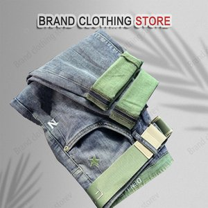 Quality 90% designer jeans men's spring and summer thin elastic trend loose casual pants