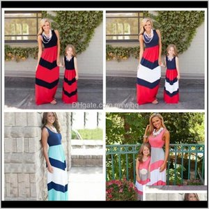 Summer Striped Mom Girls Dress Mother Daughter Dresses Family Matching Outfits Mommy And Me Clothes Dht475 2Djsu 0Q2Xm