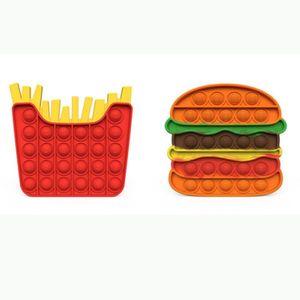 Декомпрессионные игрушки нажимают его POPS FIDGET 14 * 15 см Размер гамбургера ФРИ формы Popper Bubble Bengertip Сенсорные для выпуска стрессовых подарков