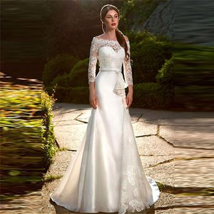 Quarter Sleeves Lace Mermaid Wedding Dress Elegant Satin With Ribbon Simple Custom Online Bridal Gowns 2021 Trumpet Bride Wear