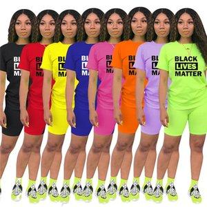 Plus size 3XL Summer Women Tracksuits two piece set Casual Outfits short sleeve T-shirt+shorts Slim sportswear jogger suit BLACK LIVES MATTER Print Biker Suits 3344