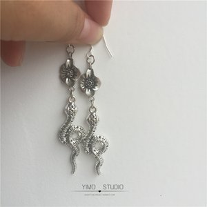 End One Original Design Handmade Cool Earth Flower Snake Ancient Silver Flower Snake 925 Silver Earrings Ear Clip