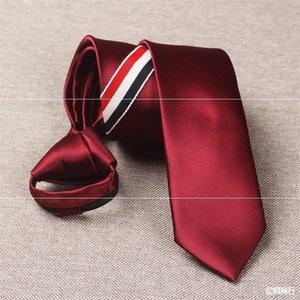 Neck Ties Luxury Quality of Designer Lazy Men's Tie Tb Three Color Bar Hair Salon Korean Narrow Fashion 6cm Zipper Easy to Pull Black Sier