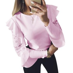 Spring Woman Blouse Long Sleeve Shirt Tops Tee Shirts Ruffle Lace Splice Office Ladies Blusas Ws5317u