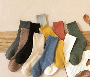 Women's autumn and winter socks with thick plush medium hose Japanese INS solid color cotton socks with towel soles