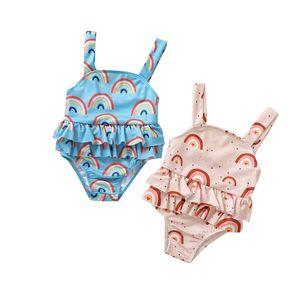 Girls Cartoon One Pieces Rainbow Printed Sling Swimsuits Ruffler TUTU Baby Swim Wear Kids Toddler Swimming Clothes 0-3T 06210408