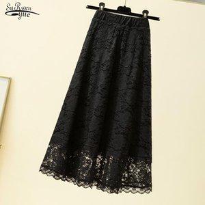 Skirts 2021 Summer Black Lace Long Skirt Faldas Plus Size Loose High Waist Women A- Line Midi For 9833