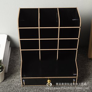 Home Storage Boxes Bins Wooden office book file multi functional desk shelf creative drawer