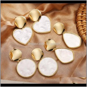 Chandelier Drop Delivery 2021 Arrival Acrylic Fashion Vintage Heart Geometric Gold Earings Brand Designer Women Dangle Earrings Jewelry Lpndr