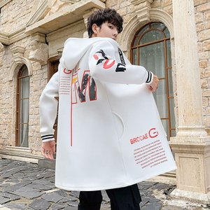 Men's Jackets Year Coat Male Students Fashion Brand Autumn and Winter Korean Loose Medium Length Windbreaker Jacket for Men