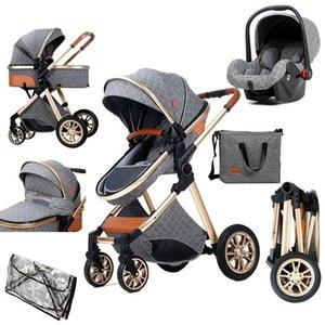 Luxo bebê carrinho 3 em 1 alta paisagem reclinável Berço dobrável Berço recém-nascido de dois sentidos Calor e espessamento Cesta de dormir quatro estações