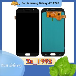 Cep Telefonu Dokunmatik Paneller TFT Parlaklık Samsung Galaxy A7 A720 Için Ayarlanabilir LCD Ekran Değiştirme Montaj Digitizer Parçası