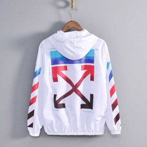 Off tide brand ow student creative white couple's hooded thin sunscreen jacket