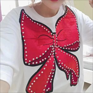 Short sleeve T-shirt sweater women's 2021 new net red bottom shirt student style relaxed foreign style personality bow tide