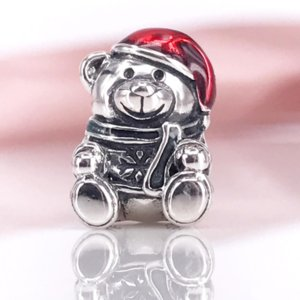 FAHMI 2021 Jewelry Authentic 925 Sterling Silver Christmas Bear, Red & Green Enamel Charm Fit DIY Pandora Bracelet And Necklace 791391ENMX