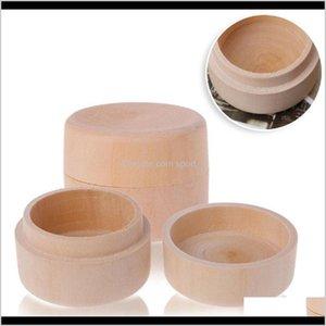 Cajas Contenedores de limpieza Organización de limpieza Home Garden Drop Entrega 2021 Pequeño anillo de almacenamiento de madera redondo Vintage decorativo Decorativo Natural Artesanía Joyería