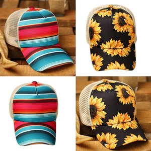 2021 New Sunflower Rainbow Stripes Baseball Cap Mesh Hollow Criss Cross Ponytail Dad Hat with fast shipment