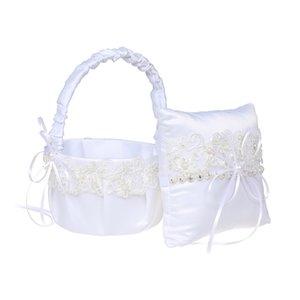 Satén blanco Cesta de boda Set de almohada Bowknot Ring Portero Almohadas y novia Flor Girl Cestas H-5681