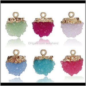 Wholesale Diy Handmade Jewelry Accessory Colorful Imitation Ore Stberry Resin Druzy Ball Stone Pendant Charms Necklaces Bracelet Gnof2 Hpmv0