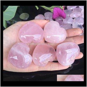 Arti e arti, artigianato regali Giardino Drop Consegna 2021 Natural Rose Quartz a forma di cuore Mini Cristallo Chakra Home Decor Reiki Healing Stone Lo