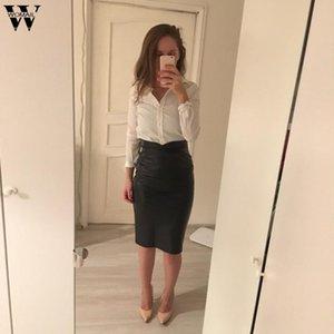 Skirts Womail Skirt Women Imitation Leather High Waist Bag Hip And Knee European American Long N20