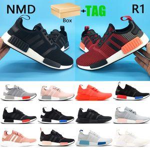 Caja NMD R1 Mens Running Shoes EUROPE EXCLUSIVO LUSH RED BLANCH BLUE Triple Blanco Blanco Hombres Zapatillas de deporte para mujer EE.UU. 5-11