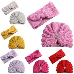 25# Born Baby Boy Girl Knitted Turban Hat Hair Band Beanie Headwear Cap Sets Accessories Diademas Para Haarband