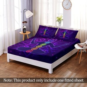 Sheets & Sets Yoga Mandala Fitted Sheet Mattress Cover With All-around Elastic Rubber Band Non-slip Dustproof