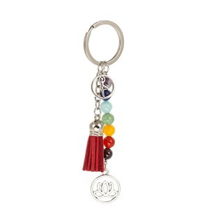 Chakra Keychain Charm Colorful Stone Beads 7 Chakras Energy Yoga Fitness Lotus Tassel Key Rings Fashion Jewelry