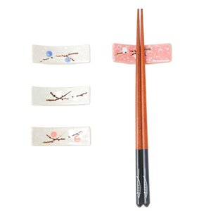 4Pcs Plum Blossom Printing Ceramic Japanese Style Chopsticks Stand Rest Rack Spoon Fork Holder Set