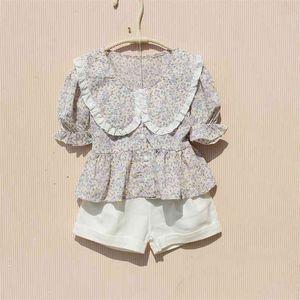 Summer Toddler Girl Shirts Korean Ruffle Sleeve Flower Blouses Teenage School Girls Short Chiffon Clothes 4 8 12 14 Years 210622