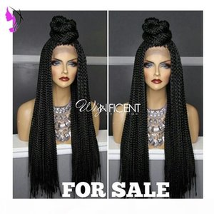 Long Braided Lace Front Wigs for black women Natural Synthetic Braiding Hair Wig with baby hair African American Hairstyle