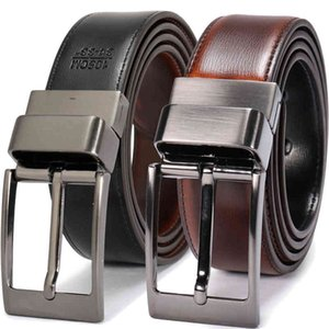 Two Designer Reversible belts sided use Luxury Fashion split Leather Jeans Men Belt J1223