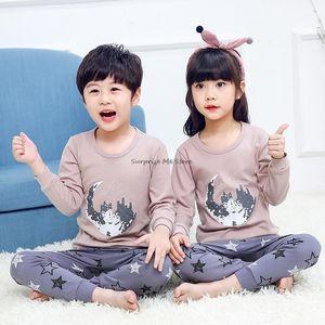 Pajamas Winter Kids Full Sleeve Cartoon Pajama Set Cotton Children Clothes Sleepwear Soft Comfortable Kid Boys Girls Homewear Pyjama
